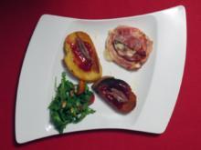 Gefüllter Büffelmozzarella, dazu Sardellen-Marmeladen-Crostini - Rezept