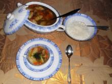 """""""Oma - Friede`s"""" klare Rindfleischsuppe mit Schwemmklößchen und Reis (Rzpt. um 1920) - Rezept"""