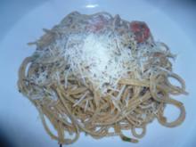 Spaghetti mit Aubergine,Tomaten,Basilikum und Pecorino - Rezept