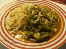 Curry-Bohnen mit Garnelen und Reis - Rezept
