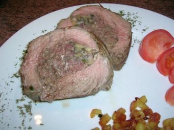 gefülltes Rumpsteak oder Carpet bag-Steak, mit Rissolèkartoffeln - Rezept