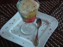 Dreierlei Götterspeise mit Vanillesoße und Konfetti - Rezept