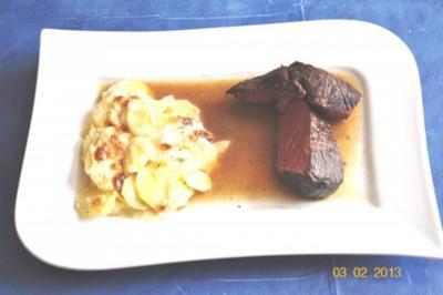 Kochen:Bison Hüftsteak mit Kartoffelgratin - Rezept