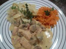 Marion's Putenbrust mit Rahm-Champignon und Karotten Spaghetti - Rezept