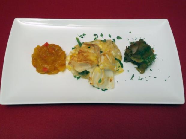 Heimischer Ziegenkäse im asiatischen Teigmantel mit Mango-Chutney und Gurken-Ingwer-Salat - Rezept