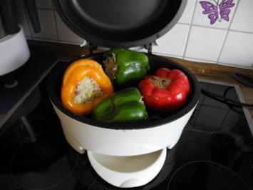 Vegan : Paprika-Mix gefüllt mit Reis aus dem Grill - Rezept