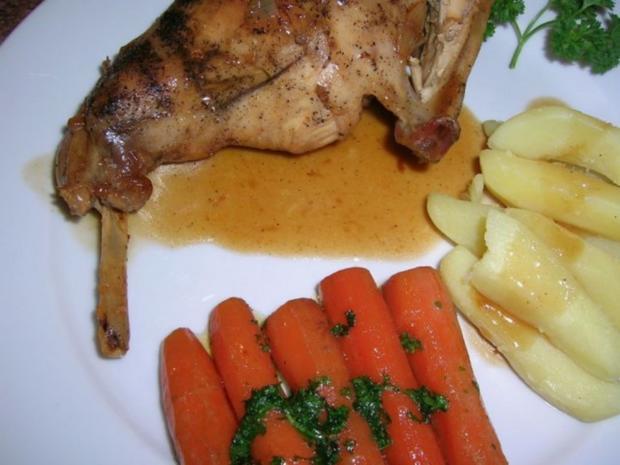 Kaninchenkeulen, geschmort, vom belgischen Riesen - Rezept - Bild Nr. 4