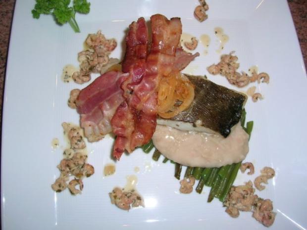 Skreifilet mit Vanille auf grünen und weißen Bohnen sowie an Krabbenragout - Rezept - Bild Nr. 5