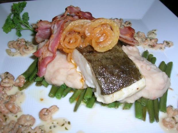 Skreifilet mit Vanille auf grünen und weißen Bohnen sowie an Krabbenragout - Rezept - Bild Nr. 2