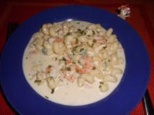 Pasta mit Gorgonzola-Garnelen>> - Rezept