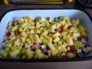 Fisch : Fischfilet auf einem bunten Gemüsebett - Rezept