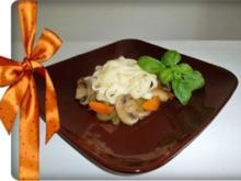 Champignons – Gemüsepfanne mit Tagliatellen - Rezept