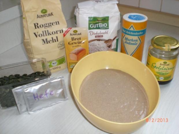 Roggen-Dinkelbrot mit Sauerteig (selbst hergestellt) - Rezept