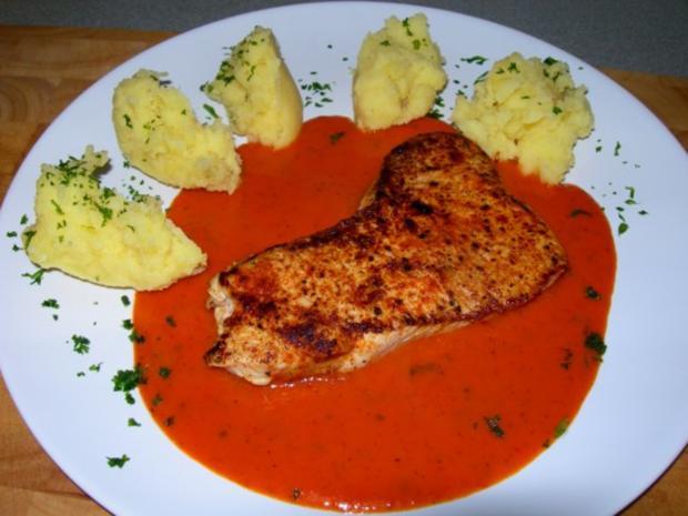 Putensteak in Paprika Chili Sauce - Rezept
