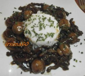 Rindfleisch mit Champignons - Rezept