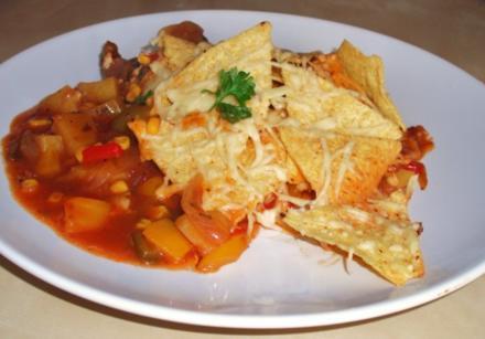 Überbackene Salsa - Nackensteaks mit Tortilla - Chili - Käsekruste - Rezept