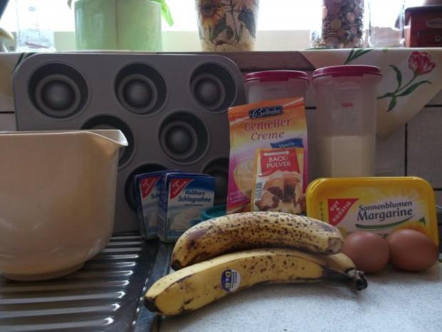 Bananen-Schoko-Cupcakes mit Vanillecreme - Rezept - Bild Nr. 2