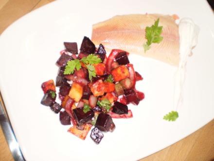 Rote-Beete-Süßkartoffel-Pfanne mit Räucherforelle - Rezept
