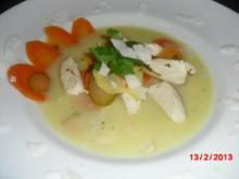 Kokos-Suppe mit Gemüse und Hühnchen - Rezept