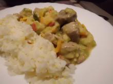 Fleisch, Schwein: Schweine-Rahmgemüse-Ragout an Safran-Reis - Rezept