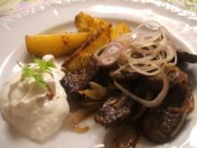 Fleisch: Lamm-Gyros mit würzigem Quarkdip - Rezept