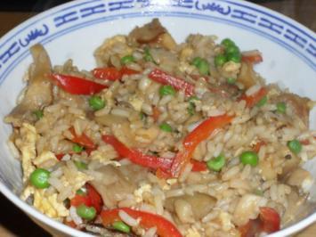 Gebratener Reis mit Gemüse und Pilzen - Rezept
