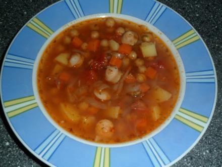 Gemüse - Kichrerbsen - Suppe mit Würstchen - Rezept