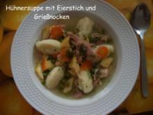 Hühnersuppe mit Eierstich und Grießnocken - Rezept