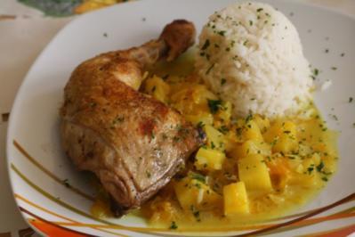 Hähnchenkeulen  mit Ananas-Kokos-Soße - Rezept