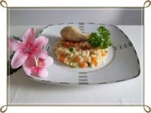 Gegarte Hähnchen Unterschenkel  auf Gemüsereis - Rezept