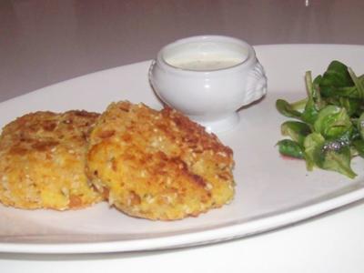 Beilagen/Hauptgericht: Kartoffel-Apfel-Plätzchen mit Aprikosen-Schmand-Dip - Rezept