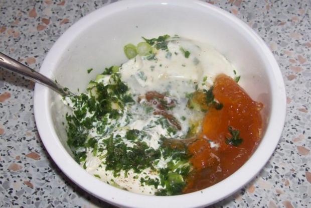 Beilagen/Hauptgericht: Kartoffel-Apfel-Plätzchen mit Aprikosen-Schmand-Dip - Rezept - Bild Nr. 6