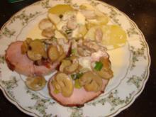 Kasseler-Lachs mit Honigkruste an Champignon-Camembert-Sauce - Rezept