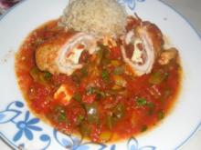 Mediterrane Putenröllchen in pikanter Paprika-Tomatensoße - Rezept