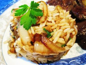Pilzreis mit viel Zwiebeln ... - Rezept