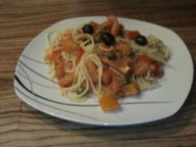 Spaghetti mit Oliven-Kapern-Sardellen.Sauce - Rezept