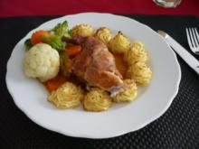 Kaninchenkeule mit Mischgemüse und Herzoginkartoffeln - Rezept