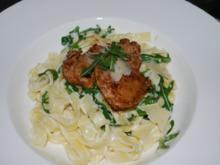 Tagliatelle in feiner Zitronen-Mascarpone-Sauce mit Schweinemedaillons in Zitronenbutter - Rezept