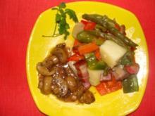Gemüse : Grobstückiges Gemüse mit Rauchfleisch und Pilzen - Rezept