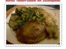 Fisch: Tandoori-Seelachs mit Zucchinigemüse und Kartoffelbratling - Rezept