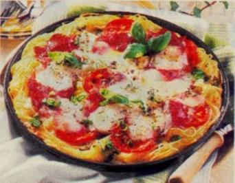 Spaghetti-Pizza mit Tomaten - Rezept