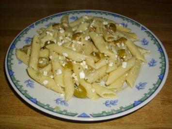 Cottage Chesse Oliven Pasta - Rezept