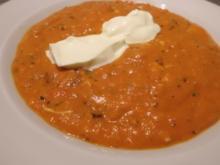 Suppe: Tomaten-Paprika-Creme mit Creme Fráiche - Rezept