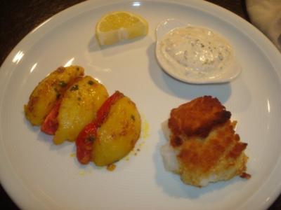 Kabeljau mit Zitronenkruste, Bombay-Kartoffeln und Joghurt-Dip - Rezept