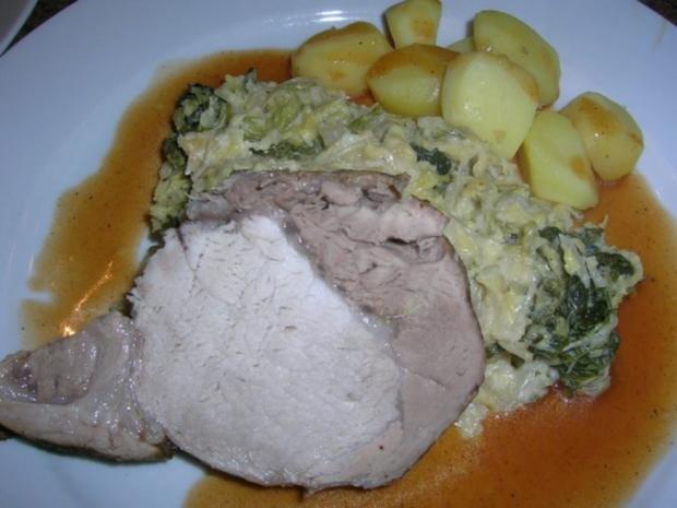 Schweinekotelettbraten am Stück an Wirsing und Kartoffeln - Rezept - Bild Nr. 2
