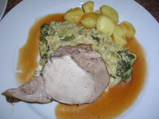 Schweinekotelettbraten am Stück an Wirsing und Kartoffeln - Rezept - Bild Nr. 3