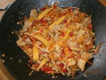 Gebratenes Schweinefilet mit viel frischem Gemüse - Rezept