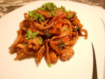 Wok: Hähnchen aus dem Wok mit frischem Gemüse und Mie Nudeln - Rezept