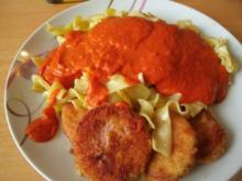 Jägerschnitzel mit gemüsiger Tomatensoße - Rezept