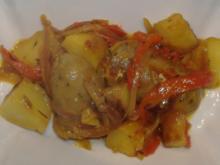 Kartoffel-Paprika-Pfanne mit Salchichas - Rezept